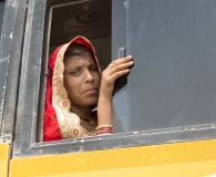 the lady at the bus